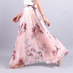 2017 Summer New Fashion Vintage Bohemia Chiffon Floral Printed Women Boho Floor-Length Long Maxi Beach Party Loose Flare Skirt