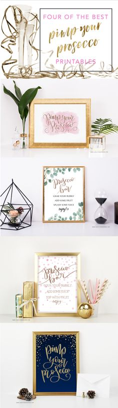 Printable Pimp Your Prosecco Signs from Love Lettered by Bekki in Blush and Gold