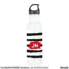 Shop Cool BLACK STRIPES Brushstrokes + Custom Monogram Water Bottle created by GoodPatternBest.