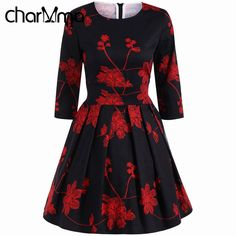 Find More Dresses Information about charMma 2017 Spring New Women Retro Flower Print Dress 3/4 Length Sleeves Vintage Vestido Summer Sweet Party Ball Gown Dresses ,High Quality dress h,China dress for dance competition Suppliers, Cheap dress plain from charMma Costume Store on Aliexpress.com