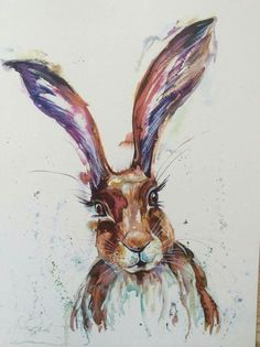Nicola Jane Rowles Art - Hare Watercolor Images, Watercolour Painting, Lights Artist, Hare, Farm Animals, Moose Art, Bunny, Colours, Rabbits