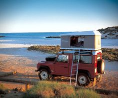 Roof rack pop-up camper with hand-crank and ladder. Mounts to any standard roof rack. Nice.    http://hiconsumption.com/2012/10/autohome-maggiolina-carbon-fiber-roof-top-camper-tent/