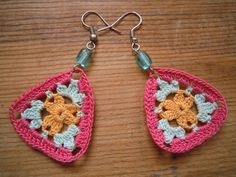 triangular crochet earrings multicolored by PashaBodrum on Etsy