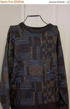 a01596e4 Vintage Mans Sweater, 80s Jantzen Sweater, Winter Pullover, Size Medium M  Men, Abstract Blue Brown Tan, Preppy Trendy Fashion