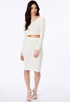 Gricka Ribbed Midi Skirt - Skirts - Midi Skirt - Missguided