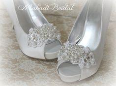 Bridal Lace Shoe Clips  Shoe Clips lace shoe clip by MabadiBridal