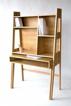 Simple looking study table w/ book areas.