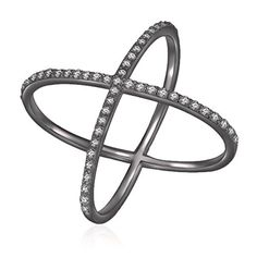 Sterling Silver Black Rhodium Plated Cubic Zirconia X Criss Cross Ring Size 9 >>> More info could be found at the image url.