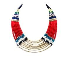 Multi color beaded indian bib necklace