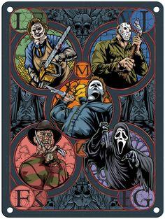 dibujos miedo Halloween - - x Metal Print Horror Posters, Horror Icons, Movie Posters, Halloween Horror, Halloween Art, Horror Movie Characters, Slasher Movies, Horror Artwork, Funny Horror