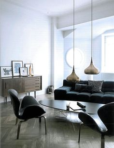 Living Room / Mid Century Modern Interior Design U0026 Decor / Neutral /  Chevron Wood Floors And Lovely Pendants