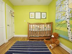 This fun, contemporary nursery is designed to be a room that grows with the little boy. The solid hardwood crib is a convertible design that will transition into a big boy bed when he gets older.