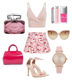 """""""Pink life"""" by melaniebonjour on Polyvore featuring moda, RED Valentino, Louis Vuitton, Linda Farrow, Vivani, Gucci y Christian Dior"""