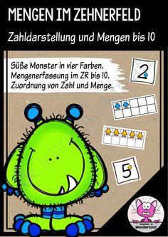KOSTENLOS: Monsterhafte Mengen im 10er-Feld. Zahlen und Mengen bis 10.