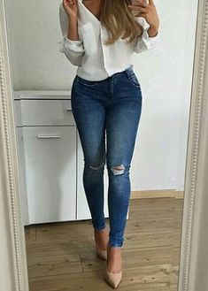 Women Jeans Outfit White Lace Trousers Flare Yoga Pants Paper Bag Trousers Outfit Petite White Trousers High Waisted Work Trousers Jeans And Heels Outfit – orchidrlily Heels Outfits, Mode Outfits, Fashion Outfits, Cute Casual Outfits, Stylish Outfits, Elegantes Outfit Frau, White Shirt And Jeans, Look Fashion, Korean Fashion