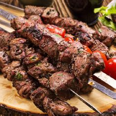 Oven cooked lamb kebabs.Marinated lamb baked in halogen (turbo) oven.