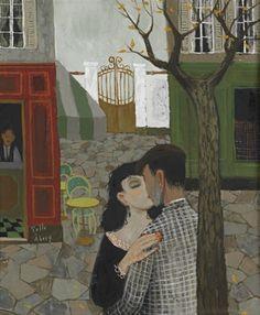 Pelle Åberg (1909-1964, Swedish), Kyssen (The kiss), Oil on panel, 46 x 38 cm.