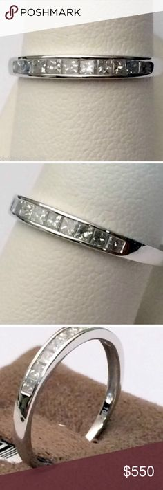 "$1649 1.0CTTW Diamond 10K Gold Band $1649 1.00 CTTW Princess-Cut Diamond Ring in 10K Solid White Gold by Brilliant Diamond size 7   Channel-set diamond ring Total number of stones: 14 Total carat weight: 1.00 CTTW Color: I-J Shape: Princess Cut: Good Clarity: I2-I3 Stone treatment: Genuine Metal: 10K solid white gold Polished finish Band width: 0.25"" Full dimensions: 0.75""x0.25""x0.75"" Jewelry Rings"