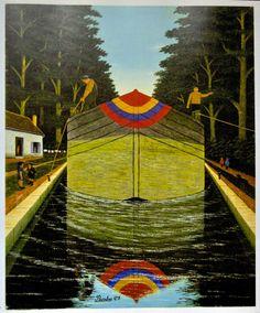 BOMBOIS CAMILLE Né en 1883 à Venary les Launes décédé en 1970 à PARIS  peintre naïf  La Péniche  huile sur toile 72 x 59 cm  1928