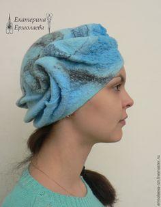 """Купить Валяная женская шапка """"Голубая волна"""" - валяная шапка, валяная шляпка, шапка валяная"""