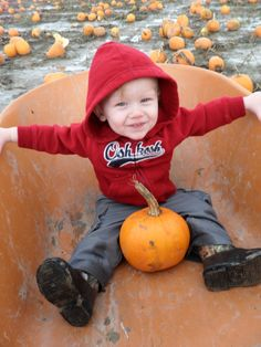 1st Pumpkin Patch, 1st time in mud, 1st wheel barrel ride,...a day of firsts:D