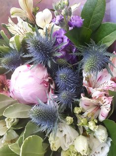 Scented bouquet of thistle, peony, lisianthus, alstromeria and stock! Oasis, Hand Tied Bouquet, Color Palettes, Peony, Spring, Flower Art, Tulips, Bloom, Seasons