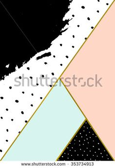 Abstract geometric composition in black, white, gold, pastel pink and blue. Hand drawn brush stroke, dots pattern and geometric elements. Modern and stylish abstract design poster, cover, card design.