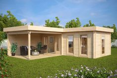 The Hansa Corner Deluxe Summer House is one of our largest garden buildings. It has nearly 22m2 of space inside and a large 3 x 4m veranda, perfect for a hot tub or a BBQ shelter and outdoor dining area. 70mm wall thickness, 28mm floor boards, impregnated 28mm terrace boards, double glazed windows and doors as well as metal storm braces inserted throughout the entire wall in four corners are all standard features of this luxury garden log cabin. Japanese Garden Design, Shed Plans, Zen, Organic Gardening, Pergola, Outdoor Structures, Luxury, Beautiful, Patio