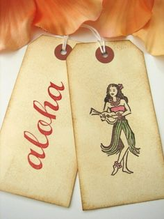 Hawaii Wedding Wish Tags Tropical Escort Cards by CharonelDesigns, give guests thw flowers with the tagtogether with the invites.. or as wedding favours