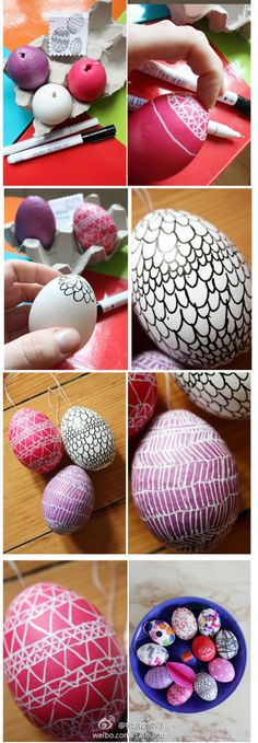 Cute eggs - dyed and hand decorated with fine tip markers. Great project if you have the time to do it!