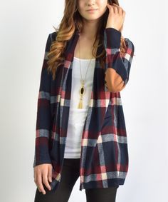 Look what I found on #zulily! éloges Navy Plaid Elbow Patch Cardigan by éloges #zulilyfinds