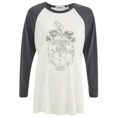 OBEY Clothing Women's Recover The Earther Raglan 3/4 Length T-Shirt -... ($57) ❤ liked on Polyvore featuring tops, t-shirts, cream, american t shirt, graphic t shirts, white graphic tee, crew-neck tee and curved hem tee