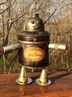 "Robot Sculpture, Found Object Art, Junk Art Robot, Assemblage Art, Found Object Robot - ""Nutmeg"""