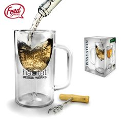 Designed by Liz Dubois, the promotional product Winestein is a clear double-walled glass in the shape of a beer mug while the inner wall is shaped like a wine glass. One color logo only.