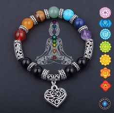 Are you feeling like your chakras are out of balance? Our 7 Chakra Reiki Healing Heart Bracelet restores and balances your 7 chakras getting you back to your s Bracelet Chakra, Chakra Armband, Chakra Jewelry, Heart Bracelet, Chakra Beads, Chakra Bracelet Meaning, 7 Chakras, Handmade Bracelets, Beaded Bracelets
