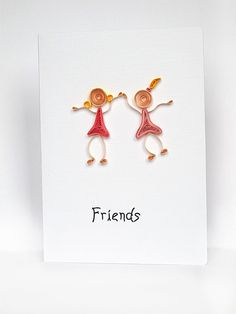 Quilled Friends Greeting card Girls for her pink by szalonaisa, $7.50