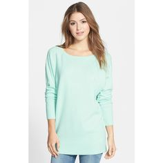 Petite Women's Halogen Wool & Cashmere Tunic Sweater ($67) ❤ liked on Polyvore featuring tops, sweaters, petite, boatneck sweater, dolman sleeve tops, bateau neck tops, long green sweater and green sweater