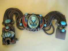 CRAZY RARE EGYPTIAN REVIVAL MAX NEIGER BRACELET ENAMEL PHAROH CZECH GLASS | eBay