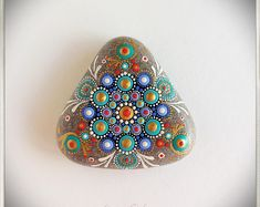 Stone Mandala, dot art, painted stone, painted rock, dot mandala.