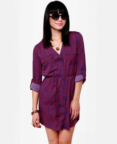 O'Neill Wild Child Red and Blue Print Dress