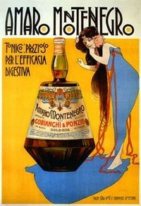 Amaro Montenegro was created by Mister Cobianchi, a young man from Bologna that dedicated his life to the production of liqueurs, creating in 1885 Amaro Montenegro prepared with a selection of 40 aromatic herbs from all over the world Vintage Italian Posters, Pub Vintage, Vintage Advertising Posters, Old Advertisements, Vintage Labels, Vintage Travel Posters, Poster Vintage, Advertising Campaign, Foto Poster