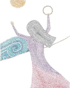 Micrography Miriam at the Sea by RaeAn on Etsy - notice the image is actually made of words. Jewish Crafts, Jewish Art, Religious Art, Dancing With Jesus, Drums Art, Song Of The Sea, Learn Hebrew, Biblical Art, Love Craft