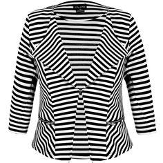 City Chic Stripe Zip Blazer Jacket ($89) ❤ liked on Polyvore featuring outerwear, jackets, blazers, zipper blazer, white blazer, ponte knit blazer, zip jacket and blazer jacket