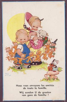 MABEL LUCIE ATTWELL FAIRIES BOO BOOS DANCING AROUND CHILDREN POSTED 1941