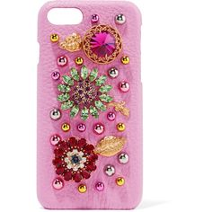 Dolce & Gabbana Embellished textured-leather iPhone 7 case (35.440 RUB) ❤ liked on Polyvore featuring accessories and tech accessories