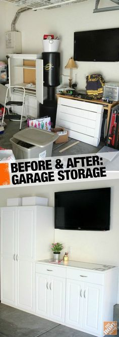 Check out how @Courtney Baker Baker {a thoughtful place} tackled her garage clutter and created an attractive storage area-- where she can also work on projects.