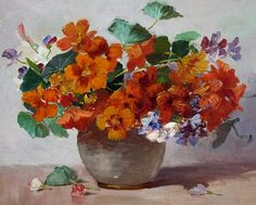 Abbott Fuller Graves, A Vase of Nasturtiums, Late 19th - early 20th century