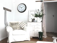 Beach Cottage IKEA Ektorp…Just love this look and feel here. This website has tons of inspirational DIYs and Before & Afters.