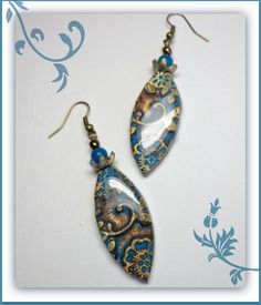 Turquiose & Bronze Floral  Leaf  Dangle Earrings, polymer clay jewelry. $12.00, via Etsy.