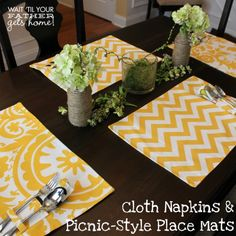 DIY Cloth Napkins & Picnic~Style Place Mats
